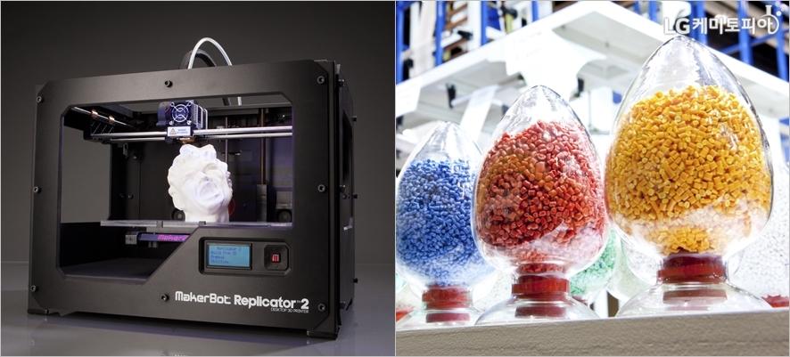 (왼쪽부터)3D프린터ⓒCreative Tools, flickr.com/ 3D 프린팅에 쓰이는 ABS 소재