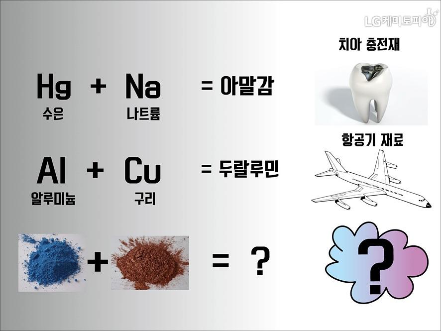 수은+나트륨=아말감, 치아 충전재/ 알루미늄+구리=두랄루민, 항공기 재료