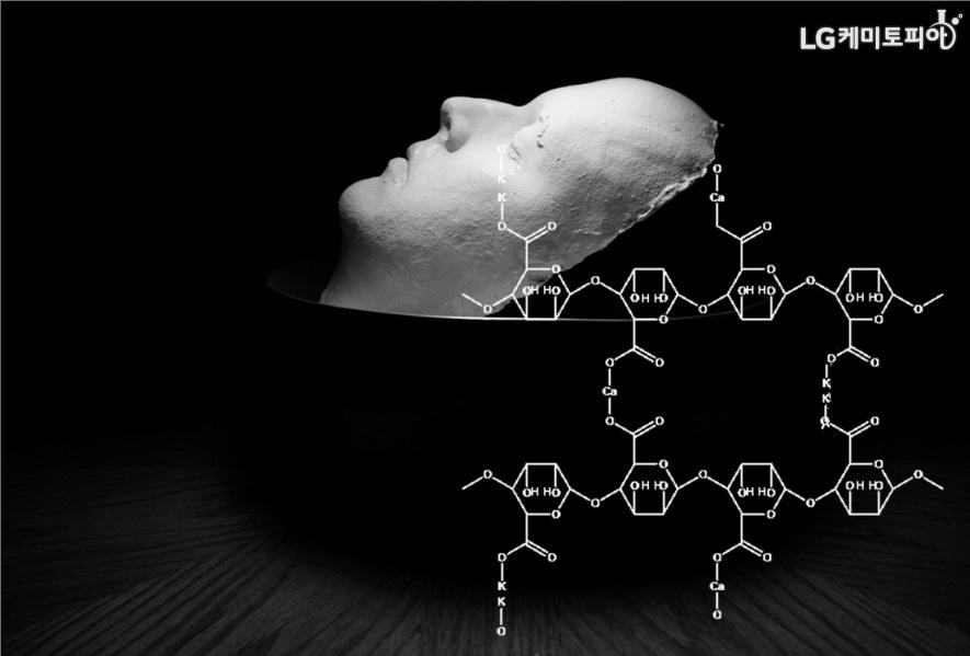 사람의 얼굴을 본뜬 석고상과 여러 화학식