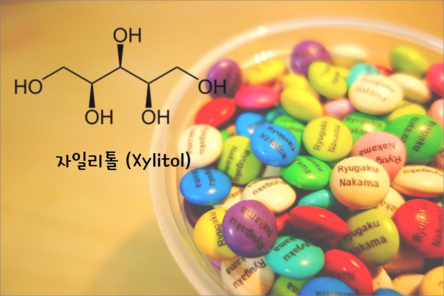 사탕 이미지와 자일리톨 화학 구조식