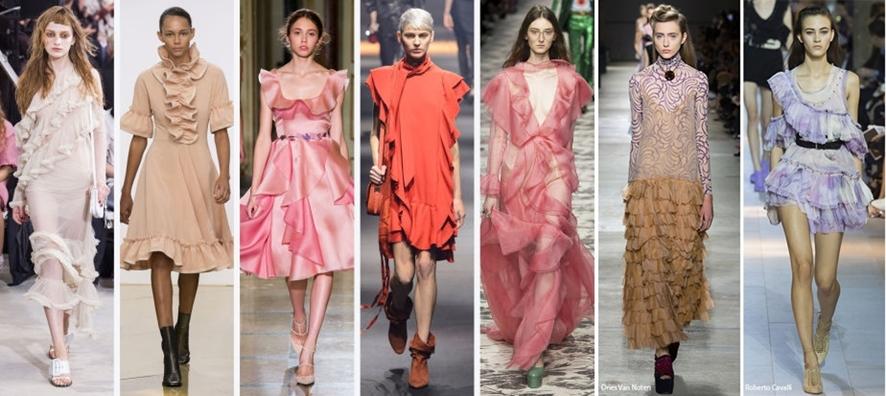 2016년 봄 여름 컬렉션 런웨이에 선보인 다양한 프릴, 러플 등 복고 드레스 의상들