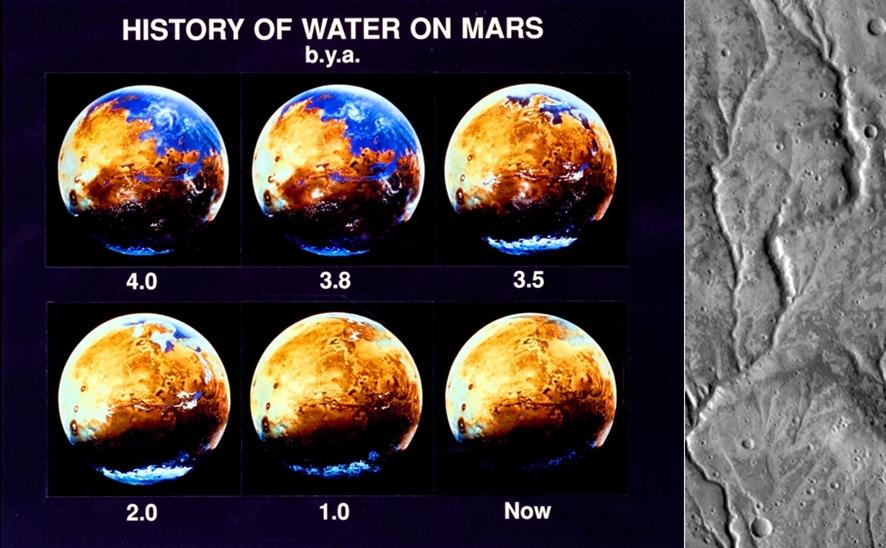 (왼쪽부터) 화성에 존재했던 물의 역사(단위: 10억 년), 화성 표면에서 발견한 물의 흔적ⓒNASA, Wikimedia.org