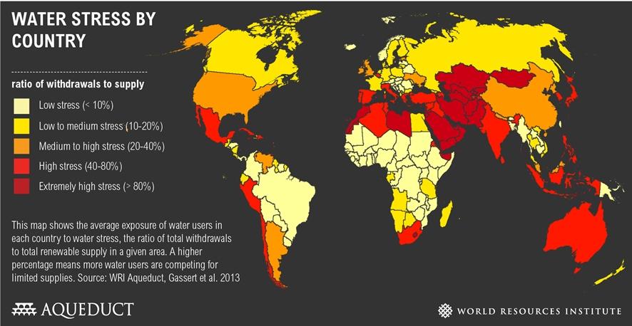 2013 세계 물부족국가 현황ⓒwww.wri.org