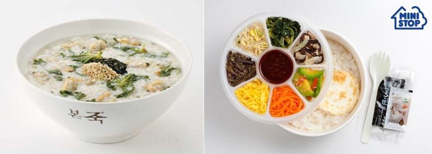 (왼쪽부터)냉이바지락죽ⓒ본죽, The 푸짐한 전주식 비빔밥 도시락ⓒ미니스톱