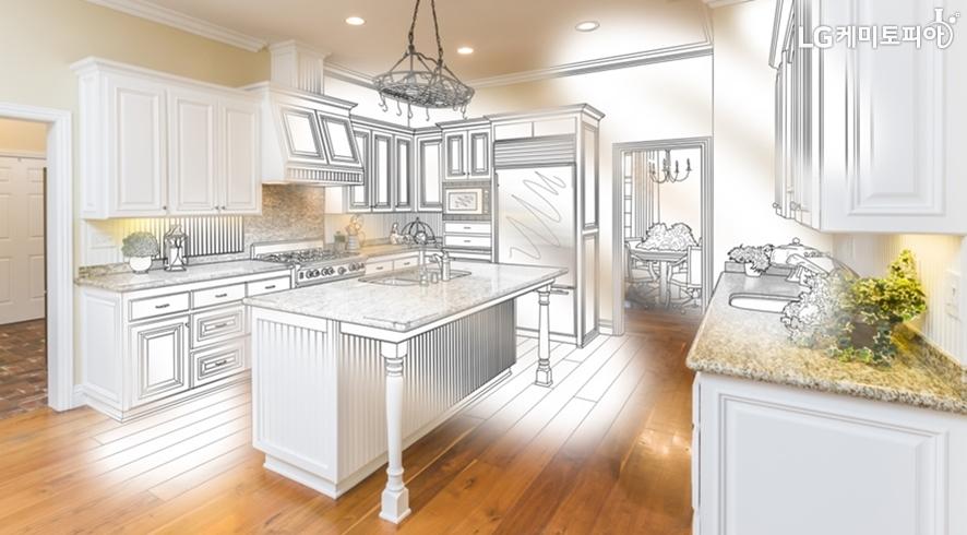 인테리어 디자인을 위한 펜 스케치와 실제 거실의 전경이 합성된 사진