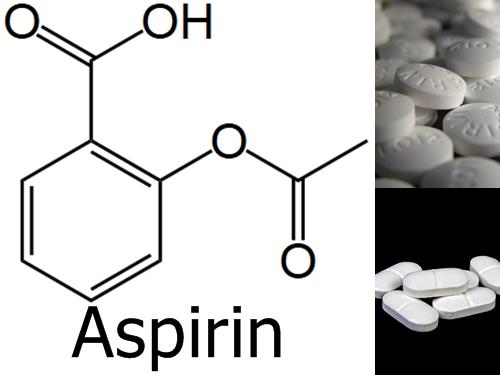 아스피린의 화학기호식과 사진