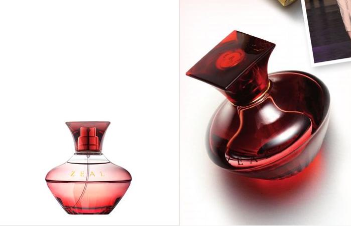 헤라 지일 향수의 모습 붉은 빛의 마름모 모양의 병에 담겨있다.
