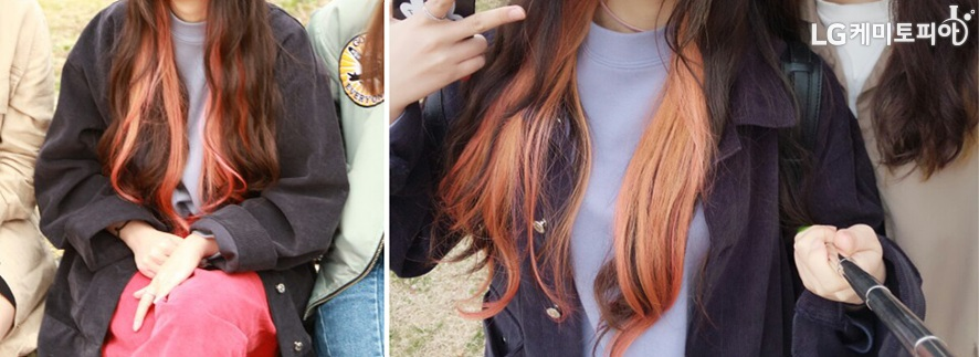 빨간색 자주색 갈색 등이 섞인 붉은 계열의 긴 머리 염색사진