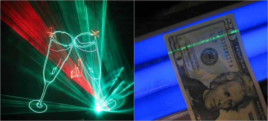총 2장의 이미지 중 왼쪽은 레이저쇼의 한 모습으로 와인잔 두개가 건배하는 모습, 오른쪽에는 위조 지폐를 레이저로 감별하는 모습의 사진이다.