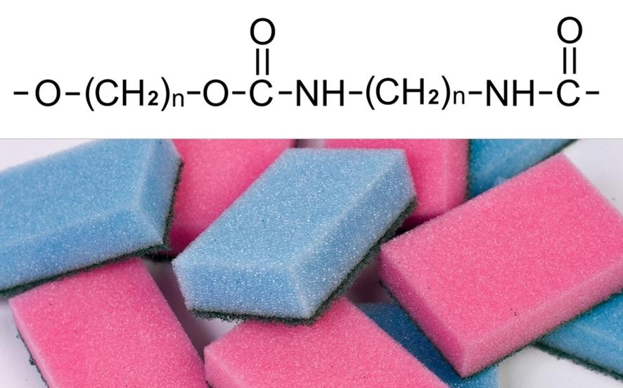 (위부터)폴리우레탄 화학 구조ⓒwikimedia.org, 폴리우레탄 소재의 스펀지 수세미ⓒHoria Varlan, flickr.com