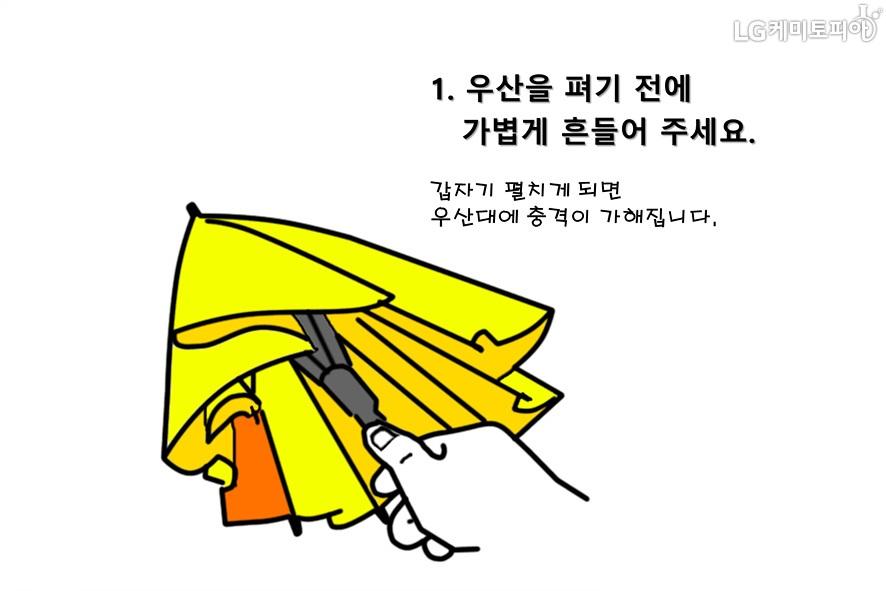 1.우산을 펴기 전에 가볍게 흔들어 주세요. 갑자기 펼치게 되면 우산대에 충격이 가해집니다.