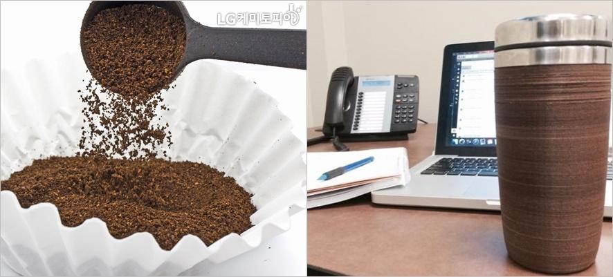 왼쪽부터 커피가루와 우측 커피로만든 컵 모습