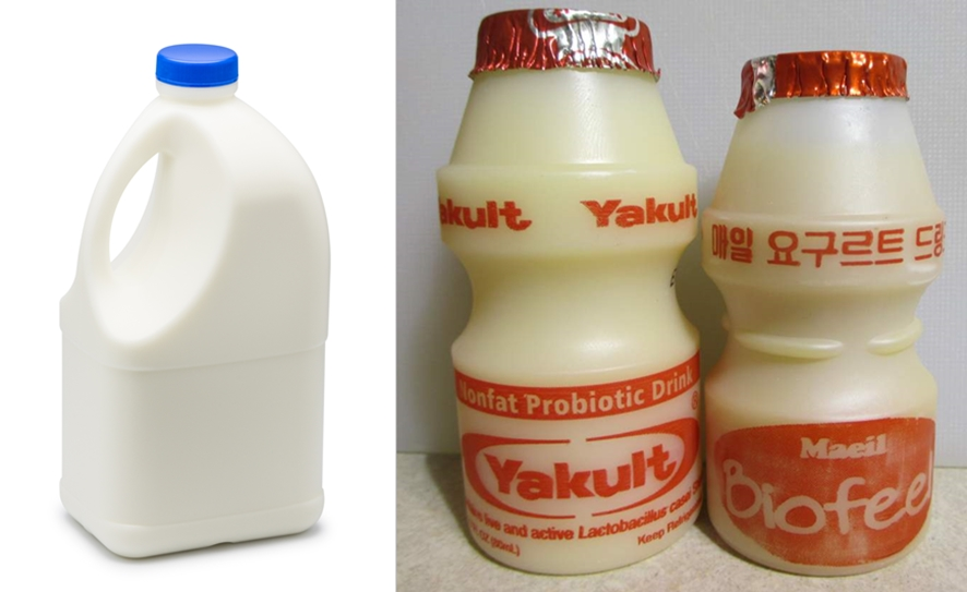 (왼쪽부터)HDPE 소재의 우유병, PS 소재의 요구르트병ⓒwikimedia.org