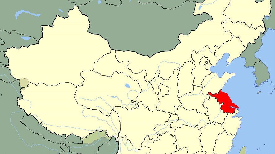 중국 지도에서 중국 경제의 심장인 '장강 삼각주'의 위치 표기