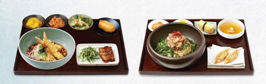 바삭 새우 냉 칼국수, 차돌박이 쌈 비빔국수 모습