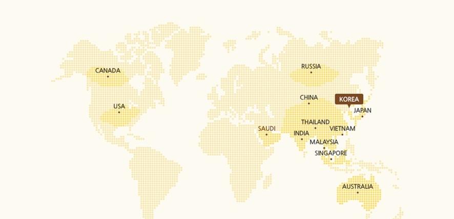 더페이스샵의 자연원료 생산지를 나타내는 세계지도