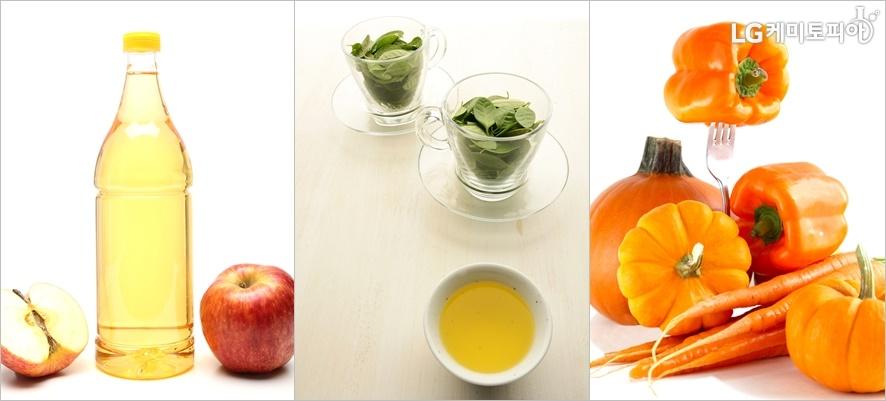 땀냄새 제거에 좋은 자연치료법. 왼쪽부터 사과식초, 녹차, 호박과 당근의 모습