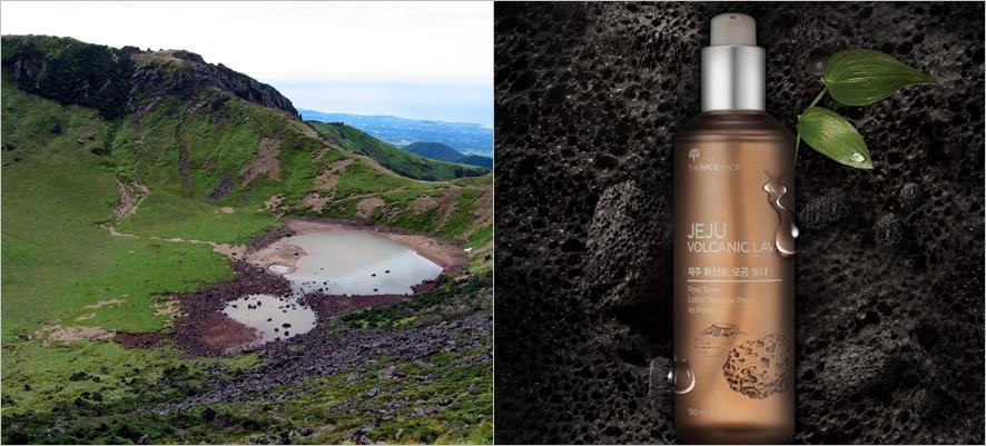 왼쪽부터, 제주 한라산 전경, 더페이스샵의 제주 화산토 라인 토너 이미지