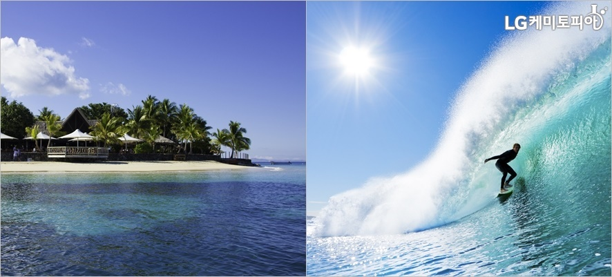 (왼쪽부터) 피지 섬, 피지섬에서 서핑하는 모습