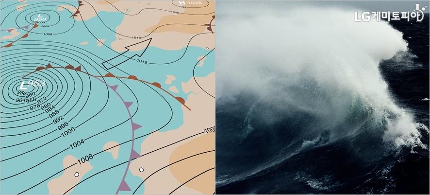 왼쪽부터 태풍이 오는 일기 예보 모습, 무섭게 높은 파도