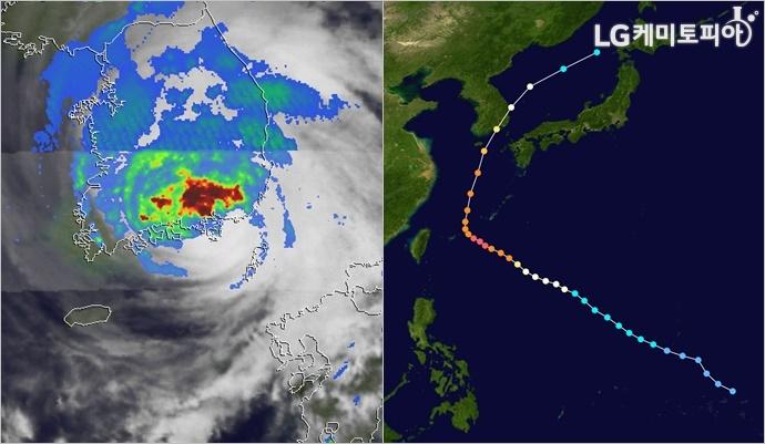 2003년 9월 12일 한반도에 상륙, 막대한 피해를 준 태풍 매미의 이동 경로