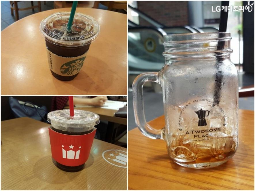 왼쪽 상단 스타벅스 콜드브루, 왼쪽 하단 할리스 커피 콜드브루, 오른쪽 투썸플레이스 콜드브루 모습