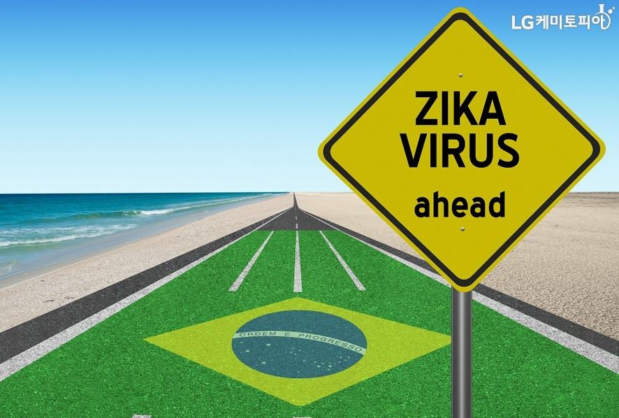 브라질 국기가 바닥에 그려져 있고 표지판에 지카바이러스가 표기되어 있다.