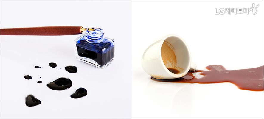 (좌)잉크가 흩뿌려져 있다.(우)컵에서 커피가 쏟아져 있다.