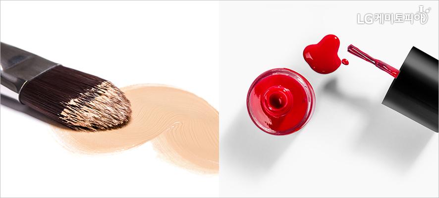 (좌)파운데이션이 묻혀져 있는 붓, (우)빨간색 메니큐어 뚜껑이 열려 있다.