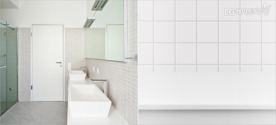 (좌)샤워부스,세면대와 거울이 있는 욕실,(우)흰색의 네모 모양 플라스틱 타일의 벽