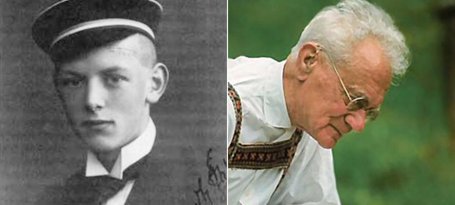 (좌)아돌프부데난트가 모자를 쓴 흑백 사진,(우)백발의 칼 폰 브리쉬가 안경을 쓰고 앞치마를 입고 있는 모습