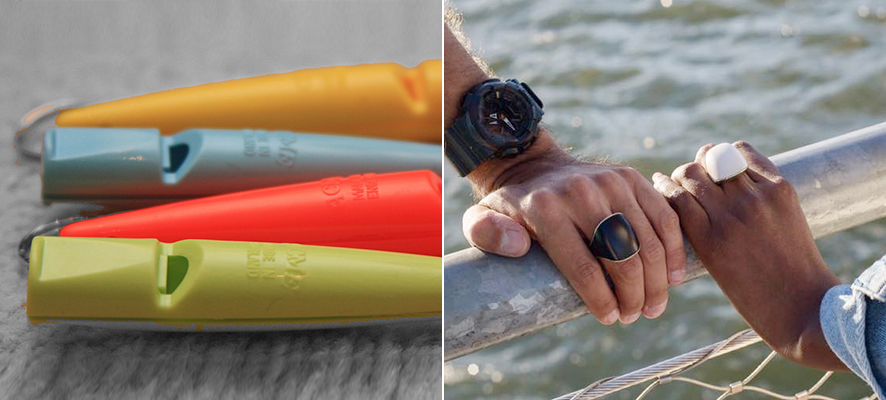 (좌) 다양한 색깔의 휴대용 호루라기가 있다, (우) 호신용 반지를 낀 각 각 다른 사람의 손이 스텐난간을 잡고 있다.