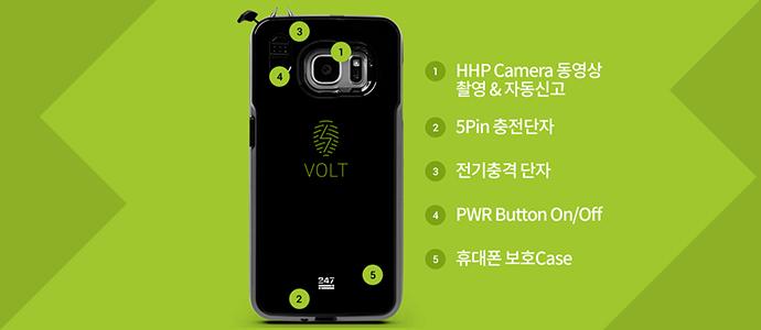 호신용 볼트 케이스에 대한 제품 설명. 호신용 볼트 케이스를 HHP Camera 동영상 촬영&자동신고, 5Pin 충전단자, 전기충격 단자, PWR Button On/Off, 휴대폰 보호Case 부분으로 구분.