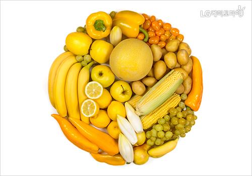 노란색 피망, 바나나, 감귤 등이 원형 모양으로 놓여있다.