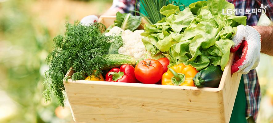 앞치마를 한 사람이 갖가지 컬러푸드 채소가 담긴 상자를 들고 있는 모습.