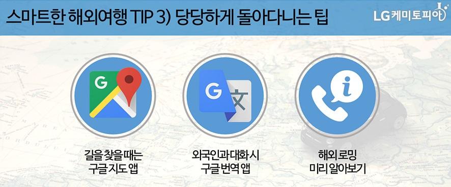 스마트한해외여행팁3. 당당하게 돌아다니는 팁 1. 길을 찾을 때는 구글지도앱 이용하기, 외국인과 대화시 구글번역앱 사용하기, 해외로밍 미리 알아보기