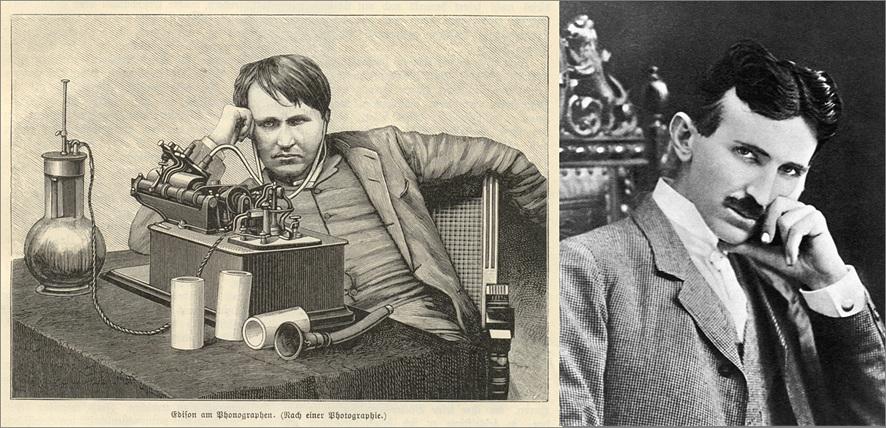 전류전쟁의 두 주역, 에디슨(좌측)과 테슬라(우측)