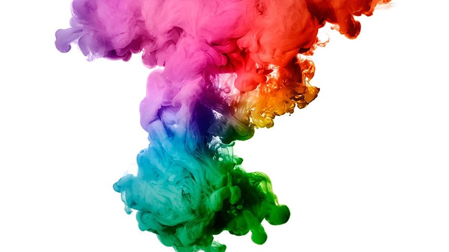 형형색색의 물감이 액체 속에 희귀하게 번지는 모양