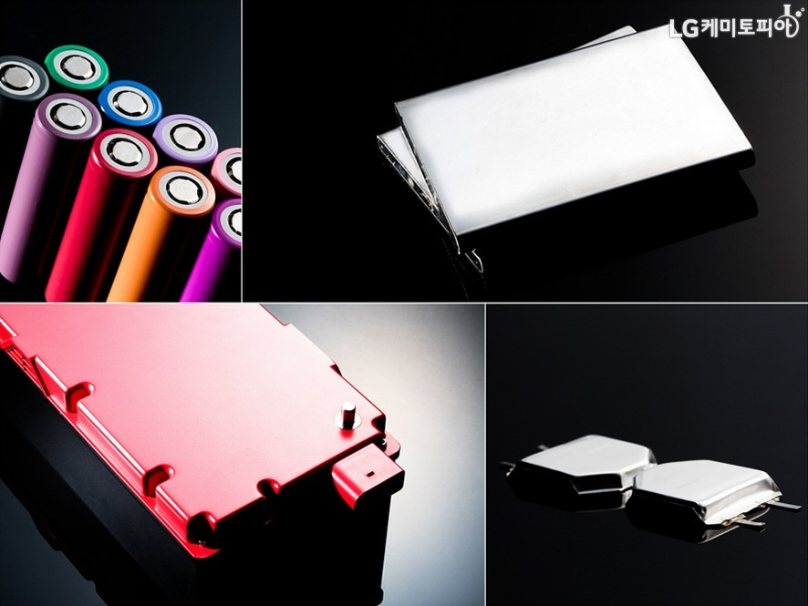 형형색색의 건전지를 포함하여, 여러가지 배터리들의 모습
