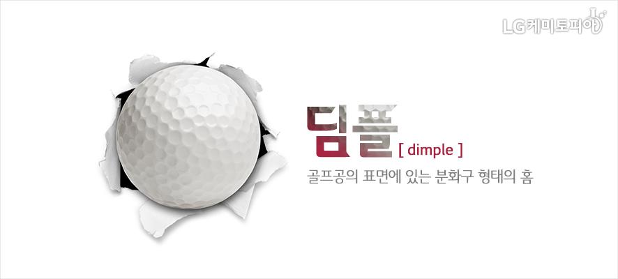 딤플[dimple]: 골프공의 표면에 있는 분화구 형태의 홈(흰색 종이를 뚫고 나온 골프공의 모습)