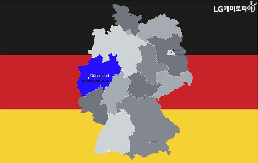 Nordrhein-westfalen, Berlin, Frankfurt, Munich(지도에 독일 뒤셸도르프 위치 표시한 이미지 )