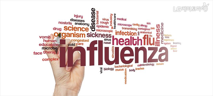 influenza 외에 질병 관련 여러 영단어가 쓰여져 있다.