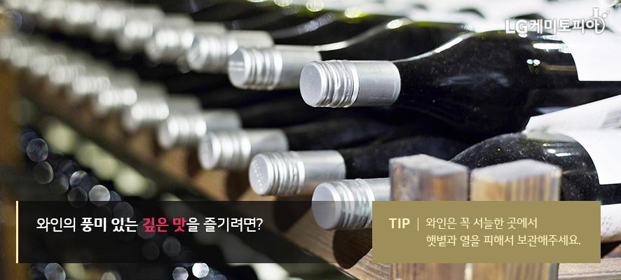 와인의 풍미 있는 깊은 맛을 즐기려면? TIP. 와인은 꼭 서늘한 곳에서 햇볕과 열을 피해서 보관해주세요.