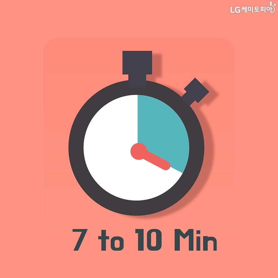 시계 아이콘이 있고 시계 아이콘 아랫쪽에 7분에서 10분까지 라는 텍스트가 있다.