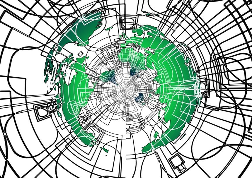 지구를 연결하는 인터넷을 표현하는 그림