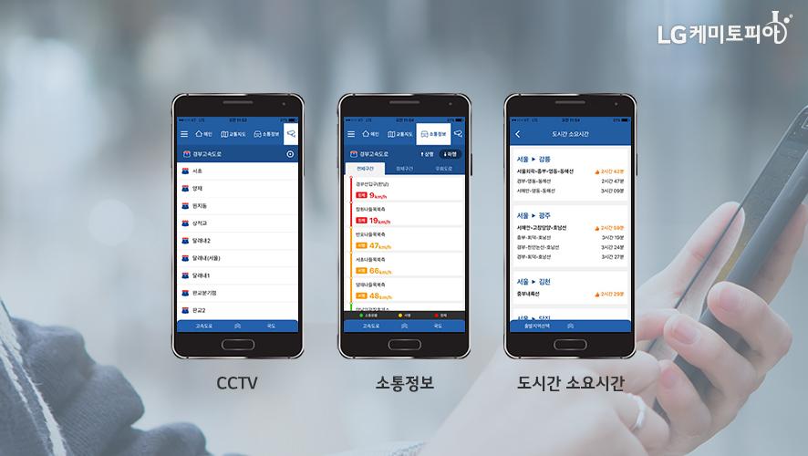 CCTV, 소통정보, 도시간 소요시간 기능들을 소개해 주고 있다.