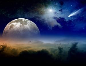 밤하늘에 별과 달이 보인다.