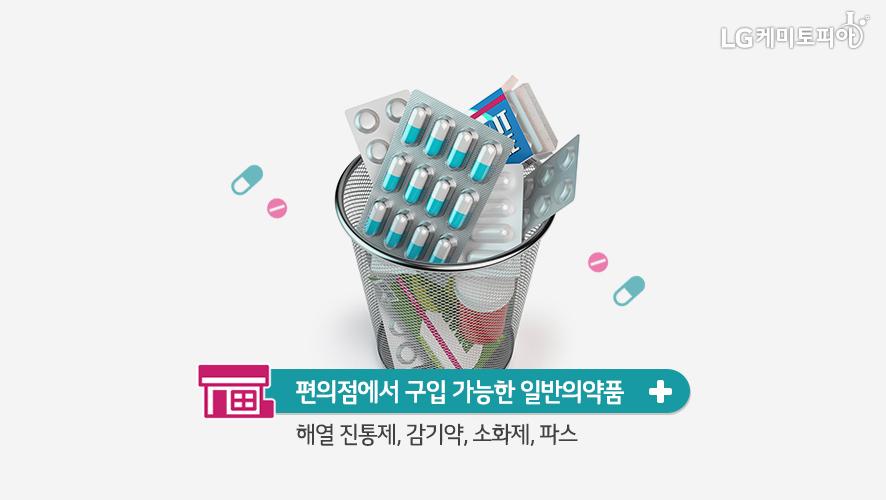 편의점에서 구입 가능한 일반의약품: 해열 진통제,감기약,소화제,파스