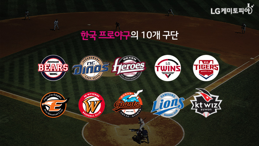 한국 프로야구의 10개 구단-Doosan Bears Seoul, ChangWon NC Dinos Est.2011, Nexen Heroes Seoul Heroes Baseball Club, LG Twins Seoul, Kia Tigers Baseball Club, Hanwha eagles Pro Baseball Club, SK Wyverns Baseball Club, SamSung Lions Baseball Club, KT Wiz Suwon
