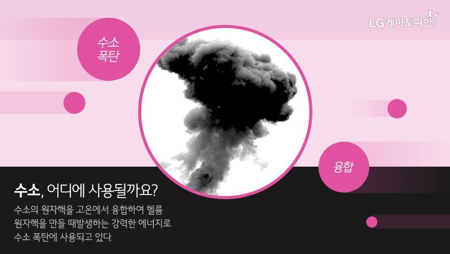 수소폭탄-융합/수소, 어디에 사용될까요?-수소의 원자핵을 고온에서 융합하여 헬륨 원자핵을 만들 때 발생하는 강력한 에너지로 수소 폭탄에 사용되고 있다.